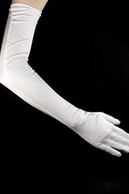 Long Party Bridal Dance Gloves Opera White/Ivory Finger Wedding Gloves Satin Cheap Wedding Gloves 55 cm Wholesale