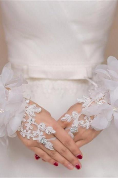 Popular Women Wedding Accessories Fingerless Flower Beaded Ivory Bridal Gloves Wrist Length One Size