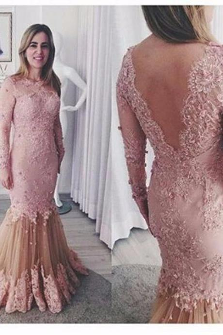Pink and Champagne Mermaid Long Sleeve Prom Dresse 2017 Floor Length Backless Lace Evening Party Gown For Graduation