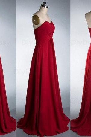 Elegant A Line Floor Length Burgundy Chiffon Bridesmaid Dresses,Sweetheart Dark Red Long Bridesmaid Dress,Cheap Graduation Dress, Evening Prom Dress