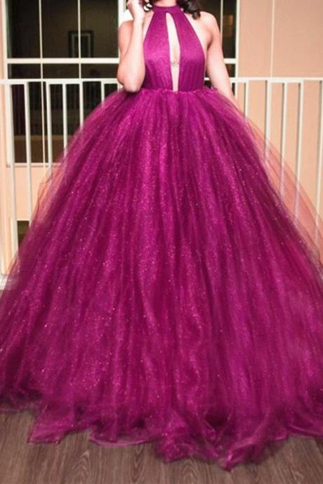 Halter Prom Dress,Top Organza Ball Gowns ,Backless Prom Dresses, 2017 Sexy Party Dress,Floor Length Evening gowns, Purple Women Dress,Evening Party Dress Gowns