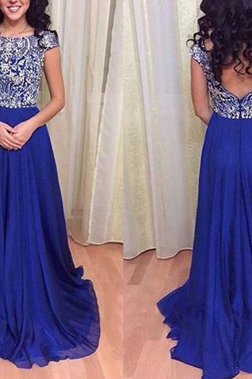 Royal Blue Prom Dresses,Royal Blue Prom Dress,Silver Beaded Formal Gown,Beadings Prom Dresses,Evening Gowns,Chiffon Formal Gown,Graduation Party Dress,Backless Gowns,cap Sleeve Women Formal Party Dress