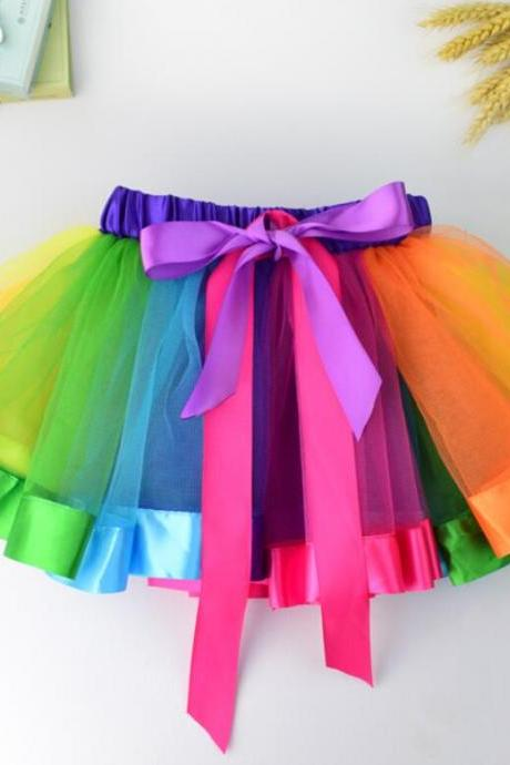 1pcs Tutu Skirt Girls Fancy Colorful Party Skirts Rainbow Tulle Birthday Dancewear Kids Clothes