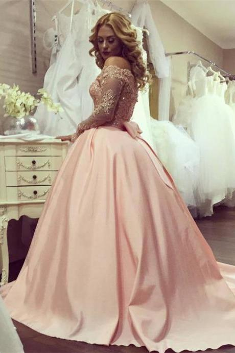 Cheap 2017 Off the Shoulder Elegant Long Sleeve Evening Dresses, Lace Beaded Party Dresses with Bow,Ball Gown Women Formal Dress,Sweep Train Satin Prom Gowns