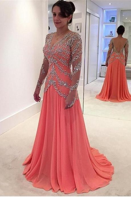 Sexy Deep V-Neck Crystals Beaded Backless Evening Dresses 2017 Long Elegant Long Sleeve Coral Chiffon Prom Party Gowns