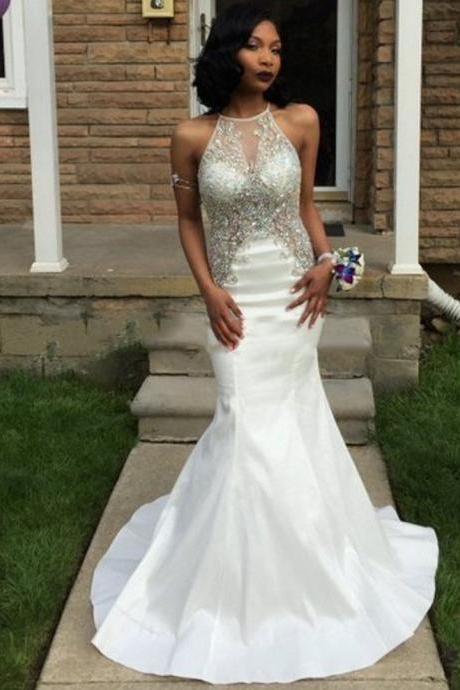 Custom Made White Halter Neck Open Back Satin Sequin Wedding Dress with Crystals and Train