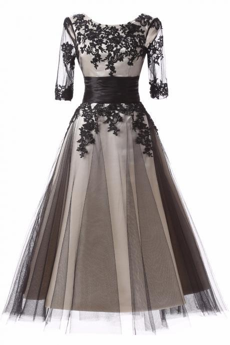 A Line Appliques Tulle Sashes Prom Dress 2017 Tea-Length Half Sleeve Evening Party Dress Women Formal Gowns Mother of the Bride Dresses