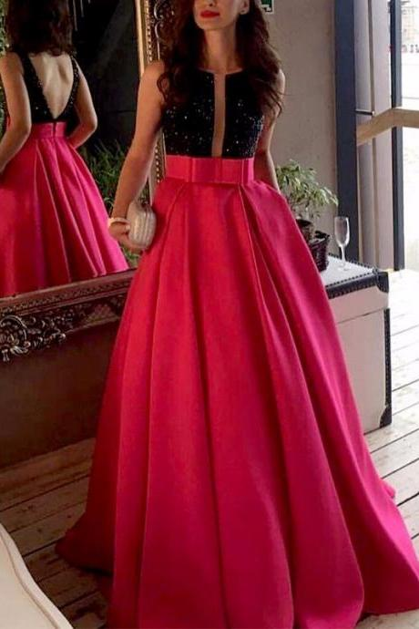 Two Pieces Black and Fuchsia Formal Evening Dresses Crystal Boat Neck Open Back with Sash Long Pageant Prom Gowns Women Special Occasion Dress