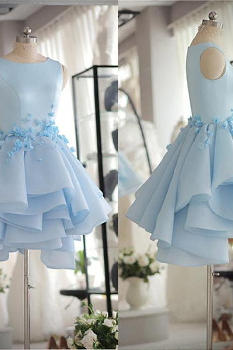 Prom Dresses 2017 Tank Sleeveless Light Blue Satin Organza Short Party Dress With Beads And Handmade Flowers Dress Prom Dress Homecoming Gowns Girls Graduation Dress