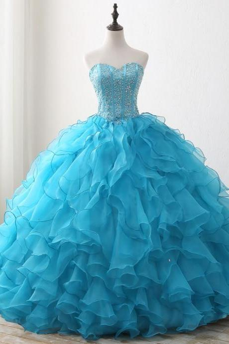 2017 Beaded Blue Quinceanera Dresses Sweetheart Ruffles Organza Ball Gown Cheap For Quinceanera Party Dress Sweet 16 Dresses Prom Dress