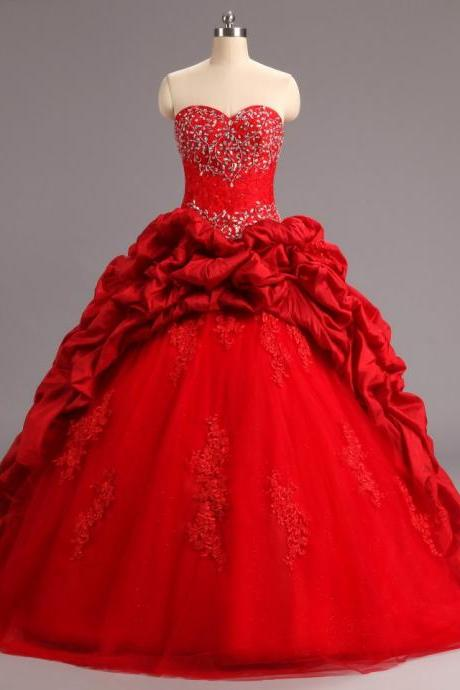 2017 Quinceanera Dresses For 15 Year Ball Gowns Ruffles Tulle Taffeta Lace Appliques Sweet 16 Dress with Beaded
