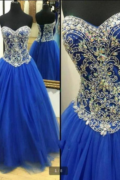 Royal Blue Crystals Prom Dresses ball gown Sweetheart Beaded Plus Size Lace Up Back Formal Party Gowns Quinceanera Dress