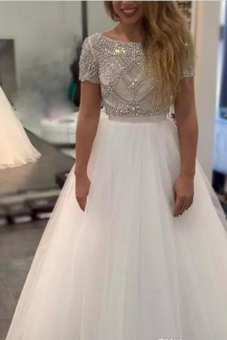 2017 Gorgeous Sexy V Back Scoop Neck A-Line Beading Crystal Tulle With Sash Short Sleeves Long Formal Party Gowns Evening Prom Dresses