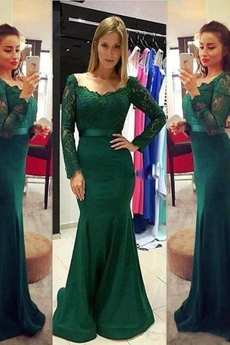 2017 New Elegant Long Sleeve Mermaid Women Evening Dresses V Neck Lace Stretch satin Floor length Dark Green Formal party Dress Special Occasion Dress Gowns