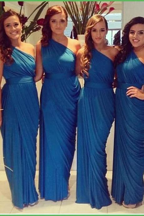 2017 Cheap One Shoulder Floor Length Long Pleated Chiffon Blue Bridesmaid Dress Custom Made Party Dress for Wedding