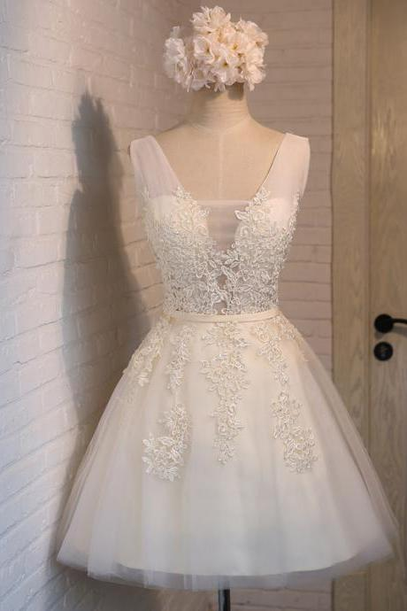 Ivory Tulle and Lace Graduation Dresses, Short Party Dresses, White Formal Dresses,Lace up Back Homecoming Dresses,Mini Girls Prom Party Dress Gowns