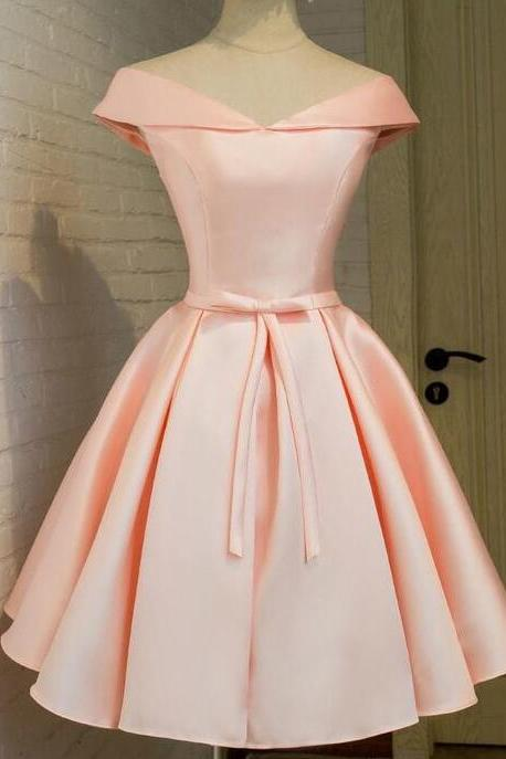 2017 Cute A Line Nude Pink Homecoming Dress,Off Shoulder Short Party Dress,Lace Up Graduation Dress,Bridesmaid Dress,Cap Sleeve Satin Party Dress