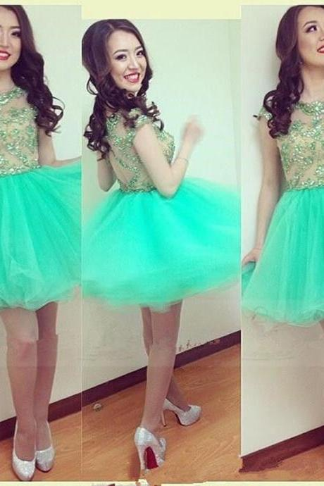 2017 Sexy Short Green Sheer Neck Tulle Prom Dress , Graduation Dresses 2017,Party Dresses,Short Evening Dresses, Short Prom Dress 2017,Open Back Homecoming Dress