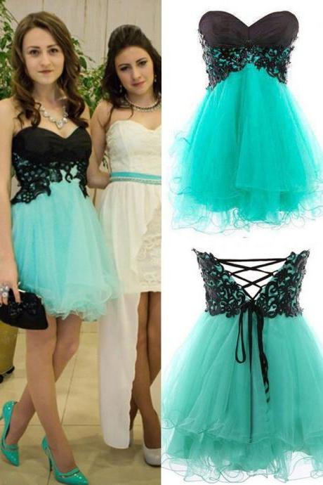 Cute Appliques And Tulle Prom Dresses, Short/Mini Prom Dresses, Graduation Dresses, A-Line Prom Dresses, Charming Lace-Up Homecoming Dresses,Mint Party Dress