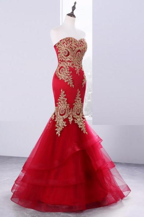 2017 Red Evening Dress Gold Lace Appliques Mermaid Ruffles Sweetheart Formal Dresses Floor Length Prom Dress Gowns
