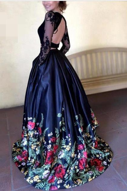 2017 New Fashion Floral Flowers Pattern Print Two Piece Prom Dresses Open Back Lace Top Satin Floor length Formal Evening Party Gown