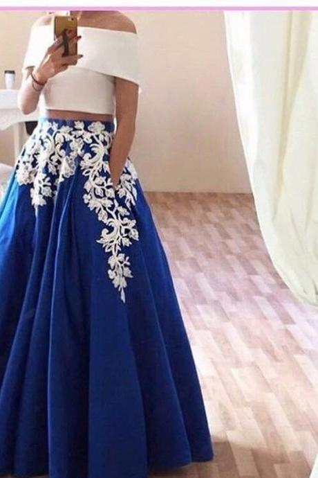 Two Piece White Royal Blue Evening Dresses Long Appliques Pockets Boat Neck Short Sleeve Satin Formal Evening Gowns Dresses