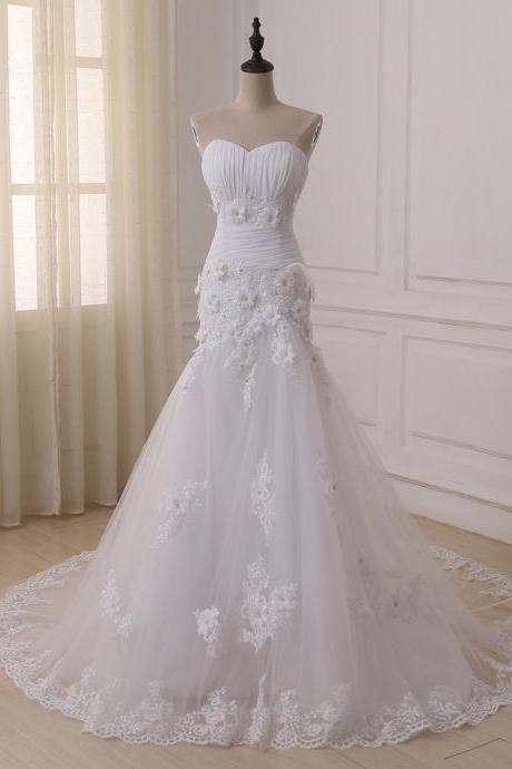 Strapless Sweetheart Ruched Floral Appliqués Tulle Mermaid Wedding Dress Featuring Lace-Up Back