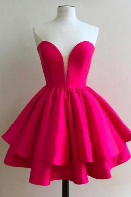 2017 lovely simple sweetheart neck short fuchsia prom dress girls homecoming dress 8th grade graduation gowns