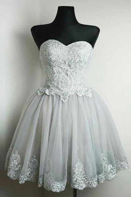 2017 Simple light gray tulle short lace appliques prom dress a-line sweetheart homecoming party dress with lace up back