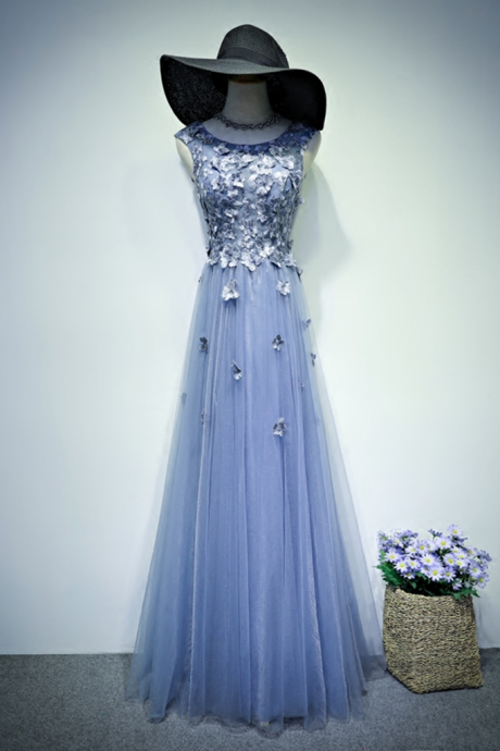 Elegant blue tulle long A-line lace appliques senior prom dress, evening dress