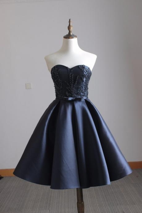 Navy blue satin sweetheart beaded short party dresses for teens,homecoming dress,bow sashes graduation dress with lace up back,custom made prom gowns