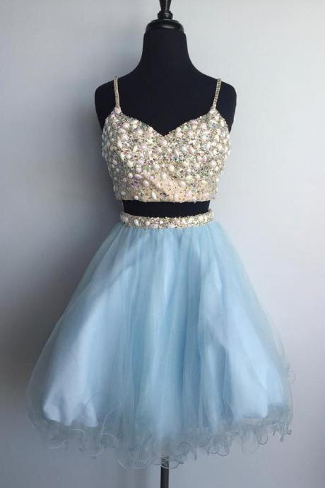 Light blue tulle two pieces beaded short homecoming dress,cute party dresses for teens,spaghetti straps prom dress,girls graduation dress gowns