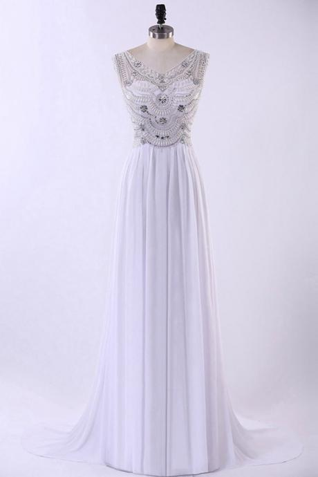 White chiffon beaded crystals scoop neck long evening dress, custom made prom dresses