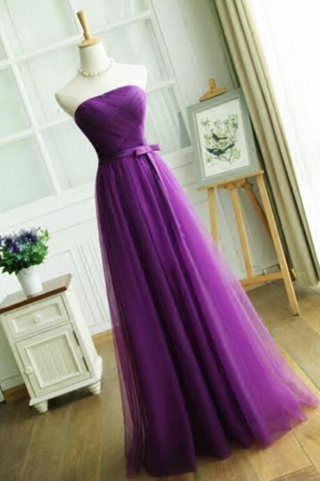 Elegant Purple Long Prom Party Dresses,A Line Strapless Pleat Evening Dress,Women Formal party dress,Wedding Party Guest Dress,Bridesmaid Dress, Gowns with Lace up Back 2017 Cheap