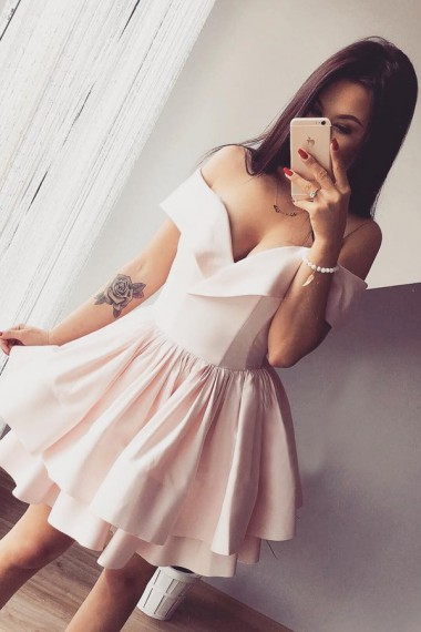 A-Line Off-the-Shoulder Short Light Pink Satin Homecoming Dress