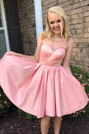 A-Line Boat Neck Short Pink Satin Homecoming Dress with Beading,Mini Party Dresses,Custom Made Prom Dress,Girls Graduation Dresses Gowns