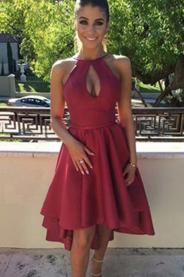 A-Line Halter Keyhole Bust High Low Dark Red Satin Homecoming Dress,2017 Fashion Backless Cocktail Dresses,Formal Party Dress