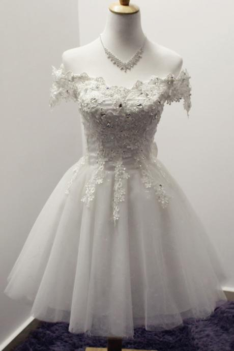 A-Line Off-the-Shoulder Short Ivory Tulle Homecoming Dress with Appliques Beaded Bowknot