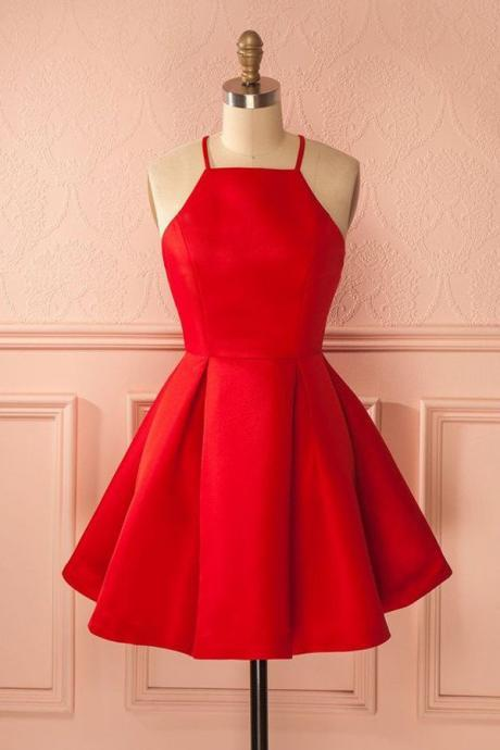 A-Line Halter Sleeveless Short Red Satin Homecoming Dress