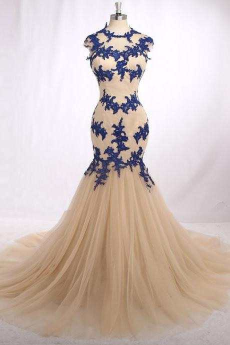 Champagne Tulle Royal Blue Lace Applique Cap Sleeves Mermaid Sweep Train Formal Evening Dresses For Wedding Party