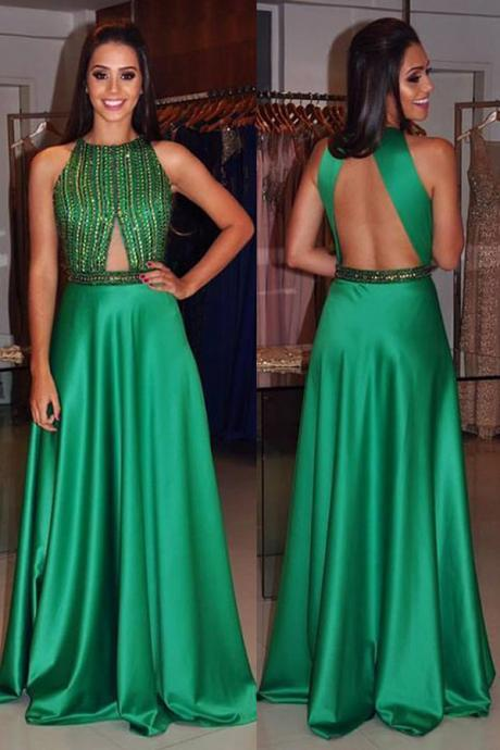 Youthful Halter Neck Sleeveless Long Green Prom Dress Open Back Party Dresses Gowns with Beading