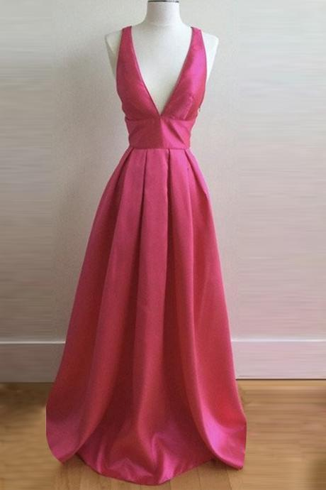 A-line Deep V-neck Criss-Cross Straps Floor Length Rose Pink Prom Dress