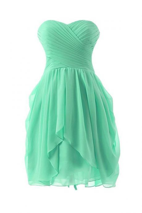 Simple A-Line Sweetheart Knee-length Lace up Back Bridesmaid/Prom/Homecoming Dress With Ruffles