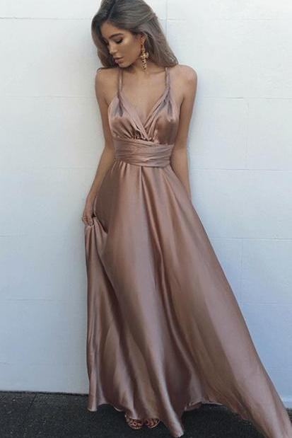 Sexy A-Line V-Neck Sleeveless Criss-Cross Floor-Length Prom Dress