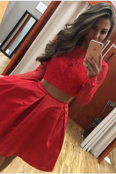 Two Piece Long Sleeves Short Red Lace Satin Homecoming Dress Girls Graduation Party Gowns
