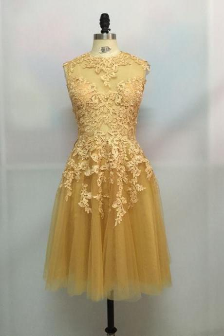 Unique sexy Gold Lace Tulle Short Prom Dress, Lace Prom Dresses 2017, Prom 2017, Homecoming Dress, Handmade Party Dresses