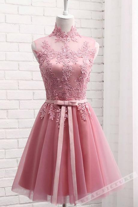 Pink High Neckline Lace Applique Homecoming Dresses, Cute Sweet 16 Formal Dresses,Short Prom Dresses