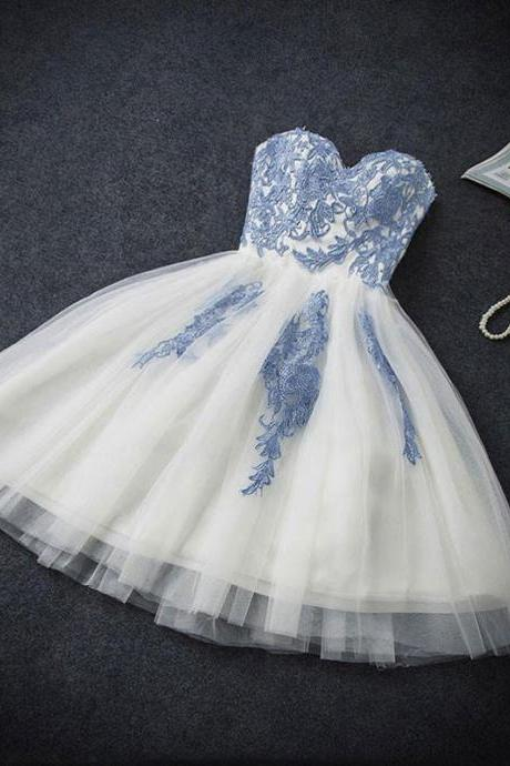 Light Blue Lace Applique and Tull Sweet Style Homecoming Dresses, Short Formal Dresses for Sale, Lovely Party Dresses
