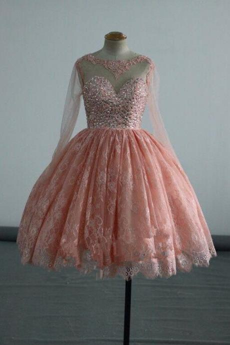 Lovely Peach Pink Teen Homecoming Dresses, Long Sleeves Formal Dresses, Lace and Tulle Short Prom Dresses,Beaded Party Dress