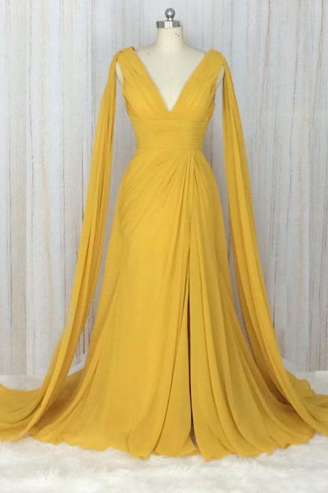 Elegant Yellow Chiffon Prom Dresses Long A Line Cheap V Neck Wedding Party Dresses Women Formal Gowns with Pleat